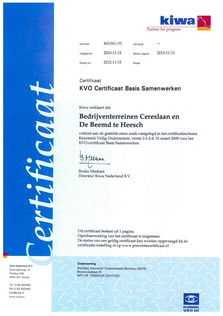 KVO-b certificaat | KVO Bernheze