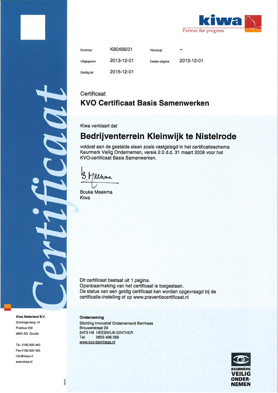 Certificaat KVO-Bedrijventerrein Kleinwijk