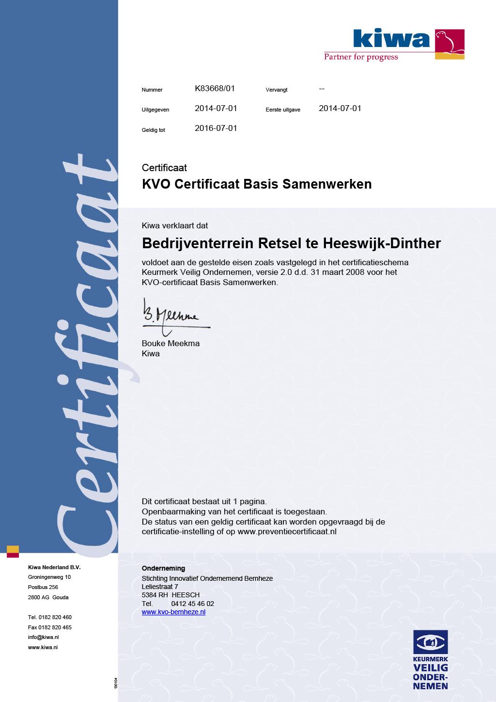 KVO Certificaat Continu Samenwerken bedrijventerrein Retsel-te-Heeswijk-Dinther