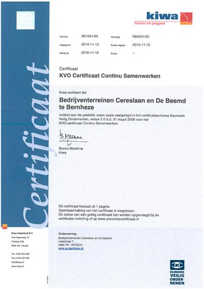 KVO Certificaat Continu Samenwerken bedrijventerrein Cerslaan en De Beemd te Bernheze