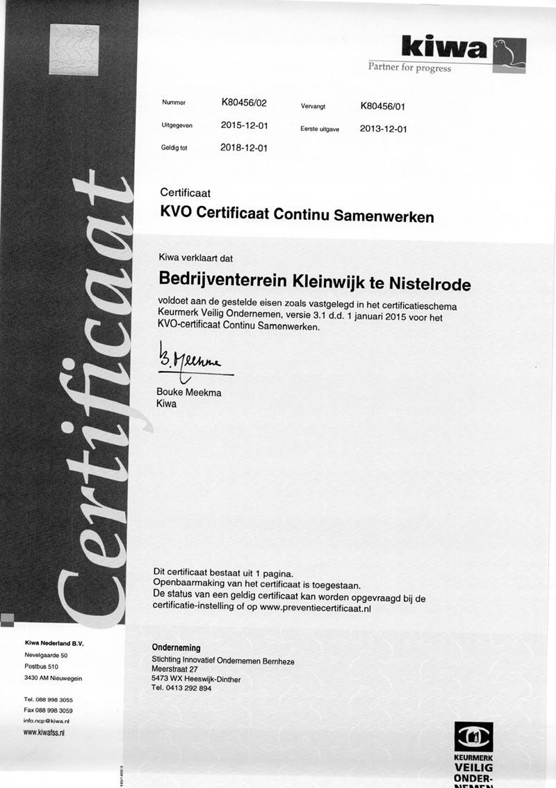 KVO Certificaat 1 meting Kleinwijk Nistelrode